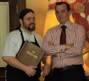 Dan O Brien Head Chef with Michael Vaughan at Vaughan Lodge Restaurant